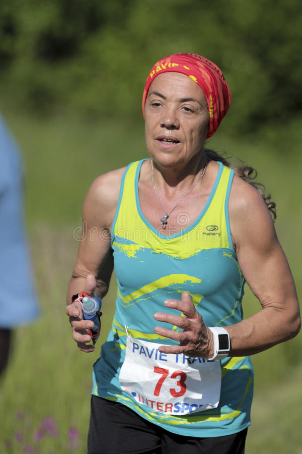 Old female runner. royalty free stock photography
