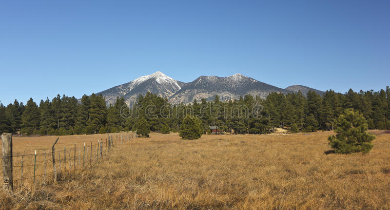 An Old Fence And The San Francisco Peaks Stock Photography