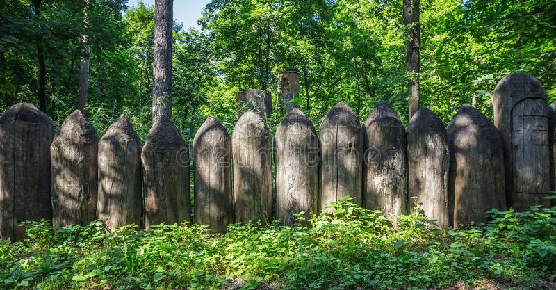 Old fence of sharpened logs in the forest stock images