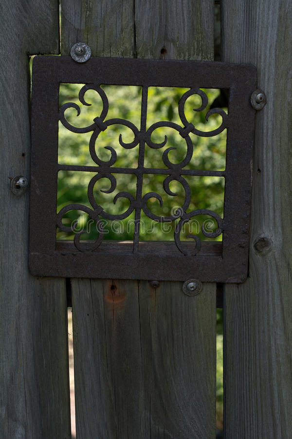 Free Old Fence With Metal Window Stock Image - 60805331