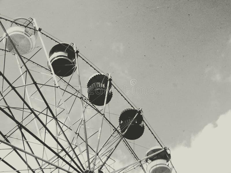 Old ferris wheel. Retro vintage black white royalty free stock photos