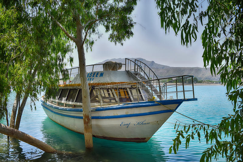 Old ferry in khanpur Dam! royalty free stock photography