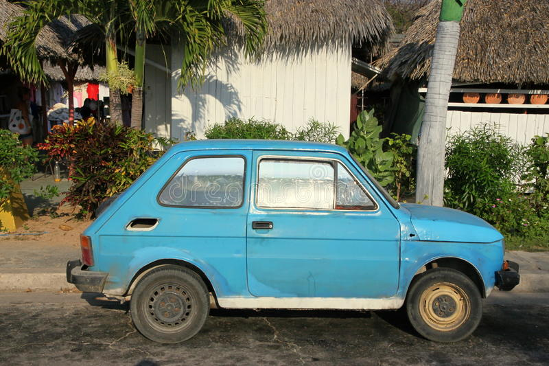 Old Fiat. An old Fiat 126 in the streets of Vradero, Cuba royalty free stock photos