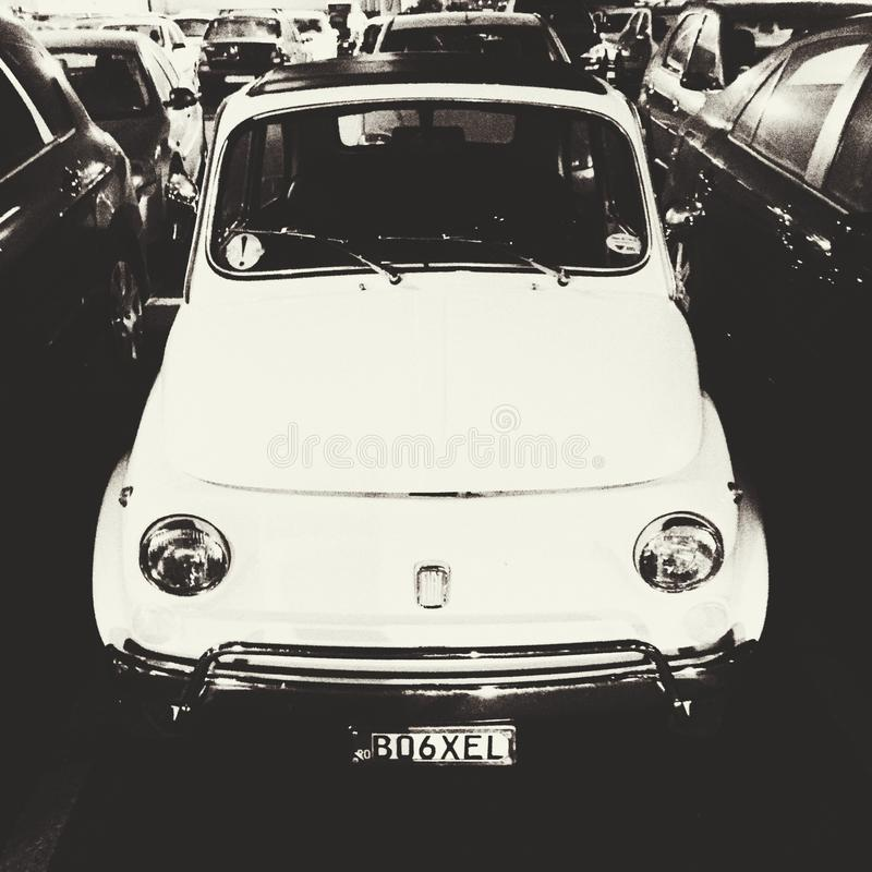 Old Fiat 500. In a parking lot stock images