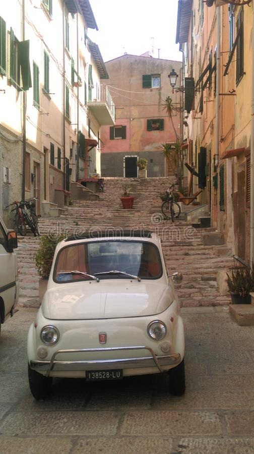 Old Fiat 500 in Portoferraio, Elba Island, Italy. An old Fiat 500 little car in Portoferraio, Elba island, Italy royalty free stock photo