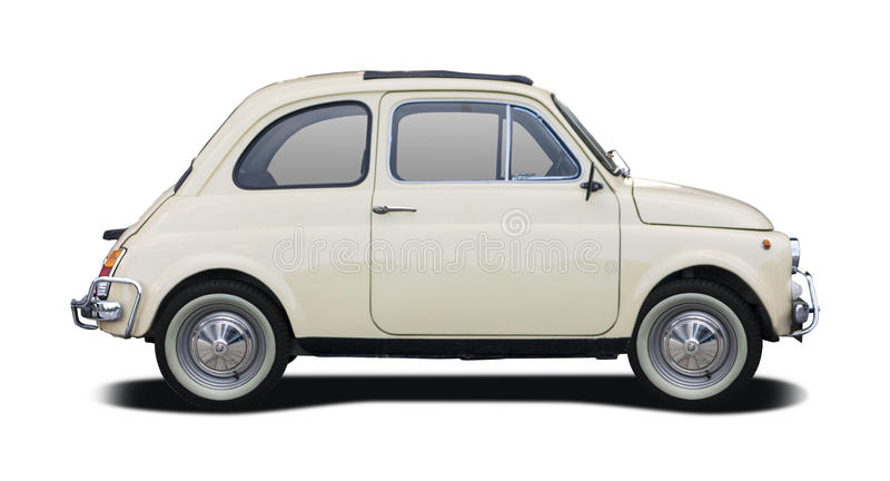Old Fiat 500. Side view isolated on white stock photo