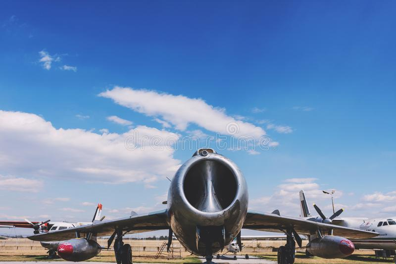 Old Fighter Military Jet Aircraft. At Museum Of Aviation Plovdiv, Bulgaria 06 September 2017 stock images