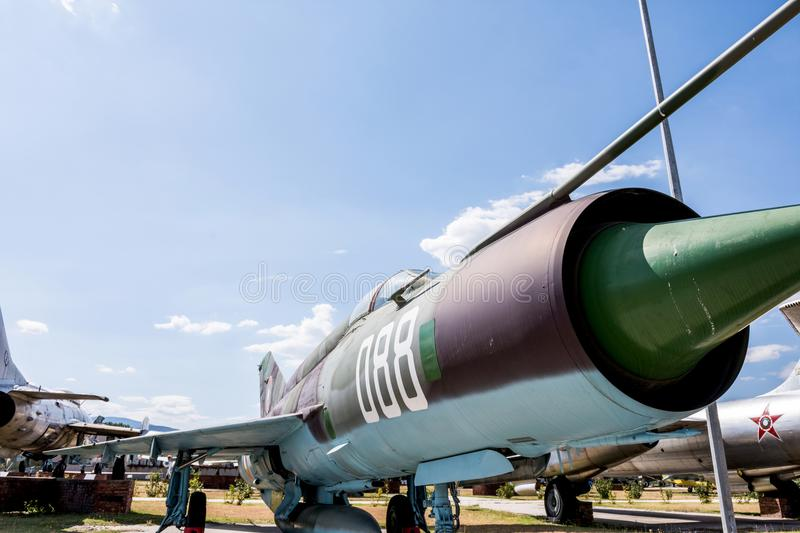 Old Fighter Military Jet Aircraft. At Museum Of Aviation Plovdiv, Bulgaria 06 September 2017 royalty free stock photo