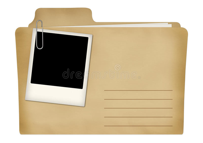 Old file with photo frame royalty free illustration