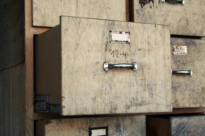 Old filing cabinet. Old business office used filing cabinet stock photo