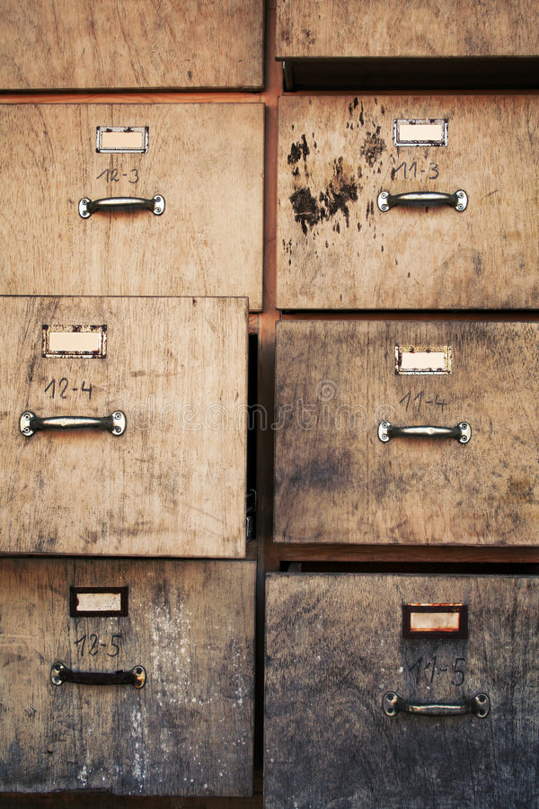 Old filing cabinet. Old business office used filing cabinet royalty free stock photography