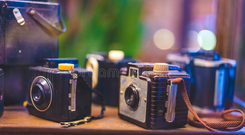 Old Film Camera Collection Set. With The Unique Mental Value Collectible royalty free stock photos