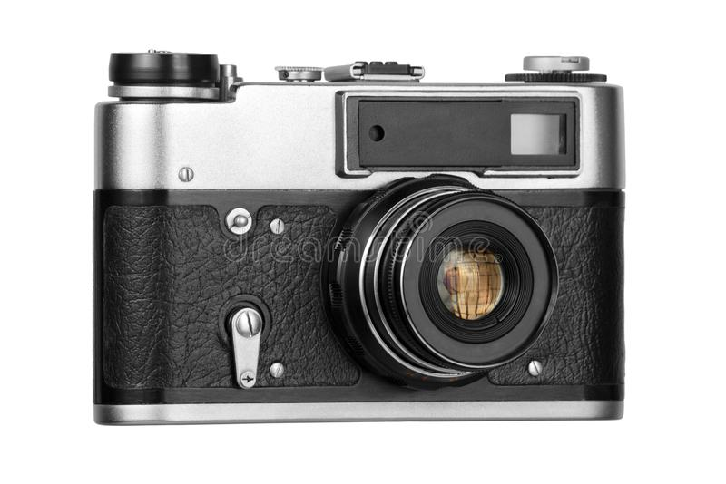 Old film camera on white background royalty free stock images