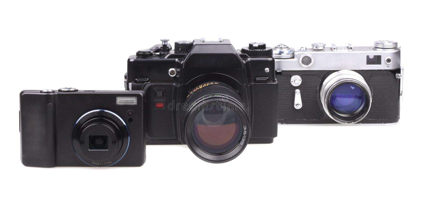 Download Old Film Cameras And The Modern Compact Camera Stock Photo - Image: 12873438