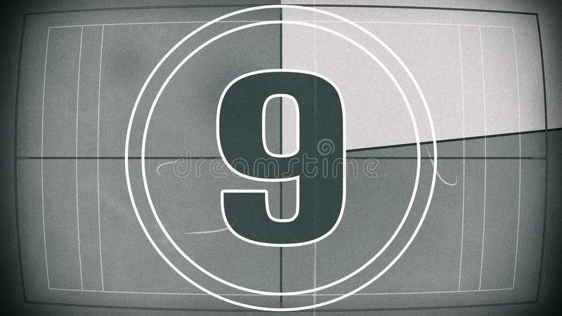 Old film countdown leader royalty free illustration