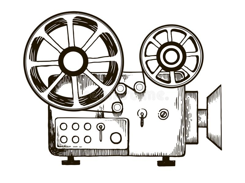 Old film projector engraving vector illustration. Old cinema projector engraving vector illustration. Scratch board style imitation. Hand drawn image stock illustration