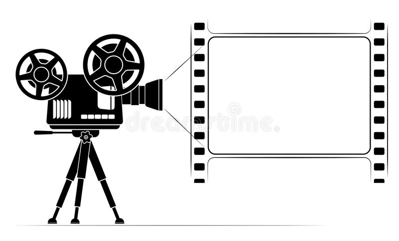 An old film projector on a tripod. Frame in the form of a film frame with perforation. Black outline vector illustration