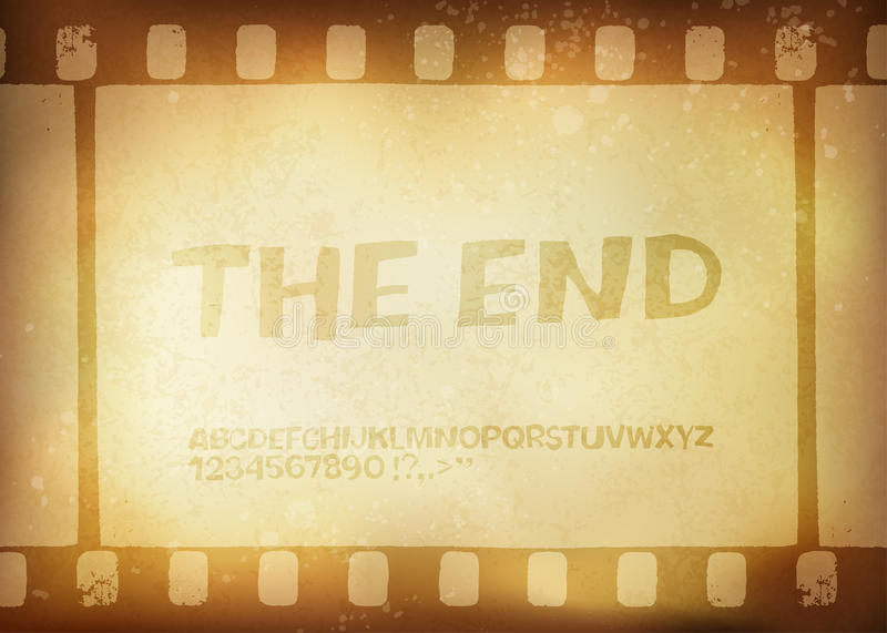 Old filmstrip. Movie ending frame vector illustration