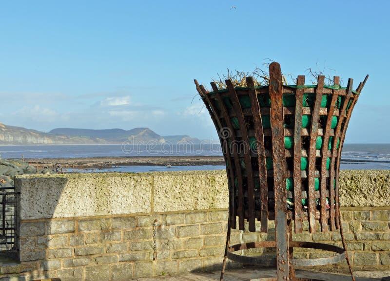 Old fire beacon Lyme Regis Dorset stock photo