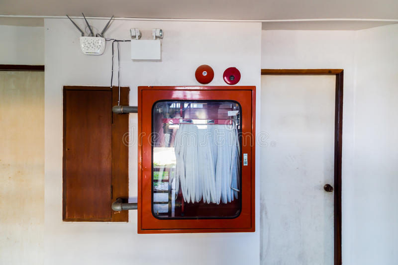 Download Old Fire Hose Cabinet In Old Building Stock Image   Image Of  Safety, Pipe