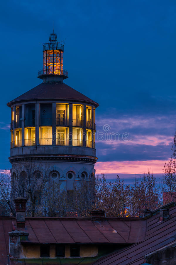 Old fire rescue watch tower in Bucharest Romania. Old fire rescue watch tower in Bucharest royalty free stock photos