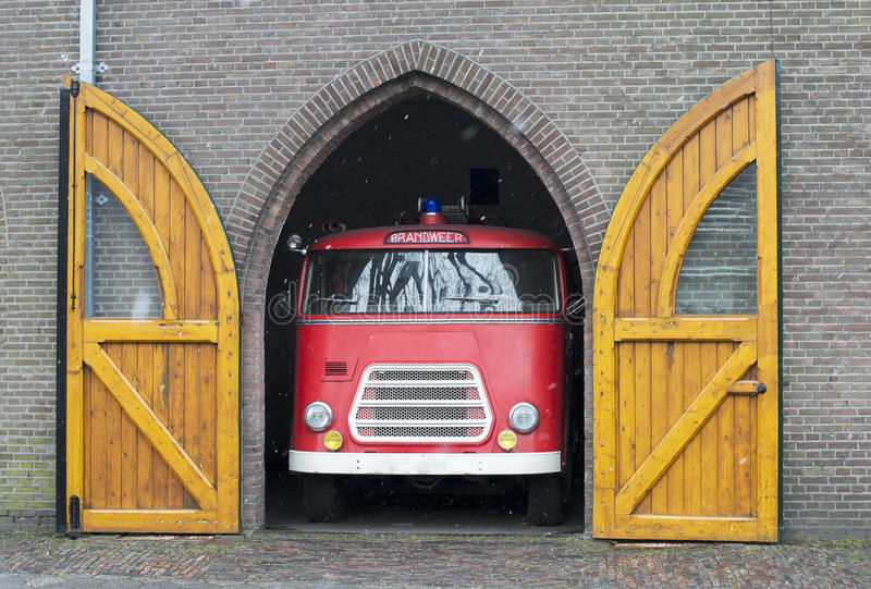 Old fire truck in holland. Old fire truck in dutch garage stock images