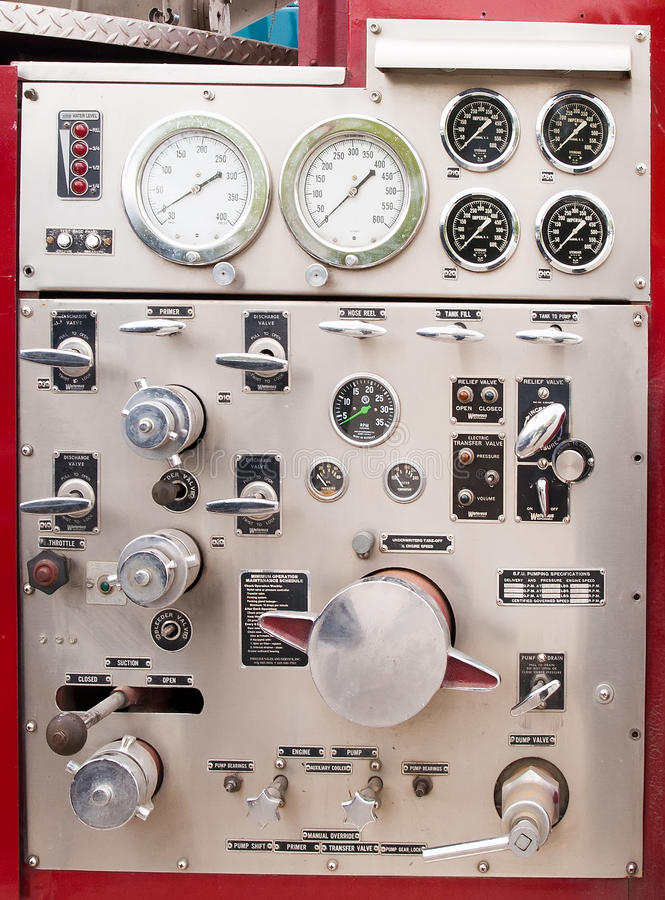 Old fire truck equipment royalty free stock photography