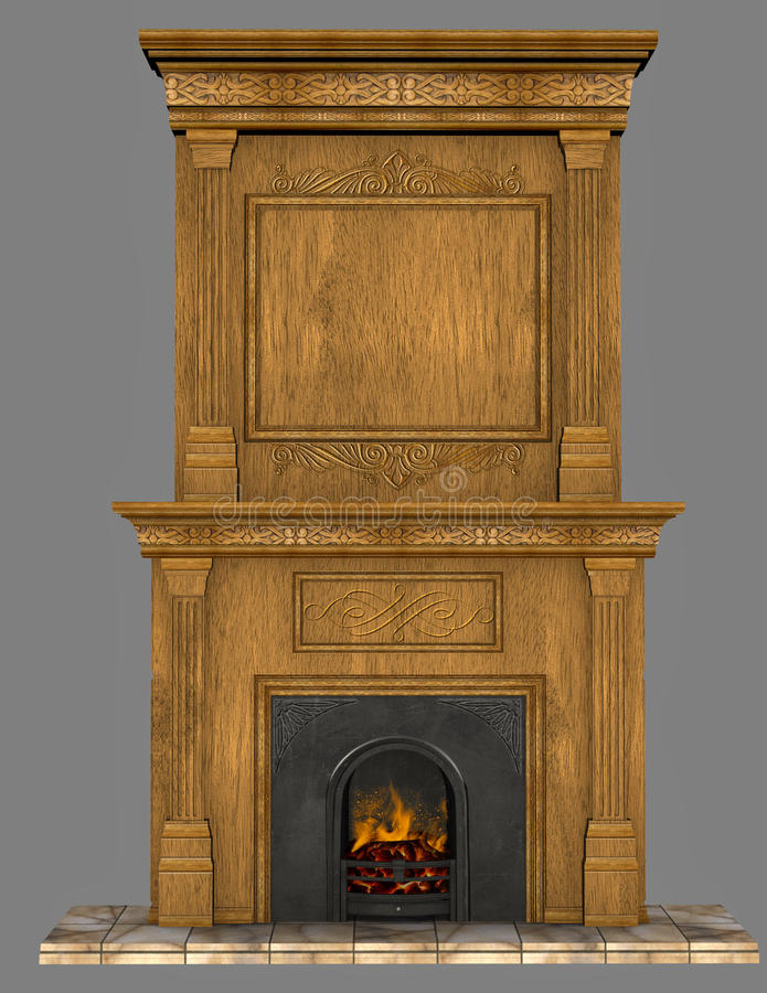 Old fireplace vector illustration