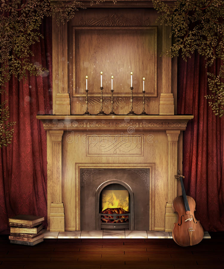 Old fireplace with a violin royalty free illustration