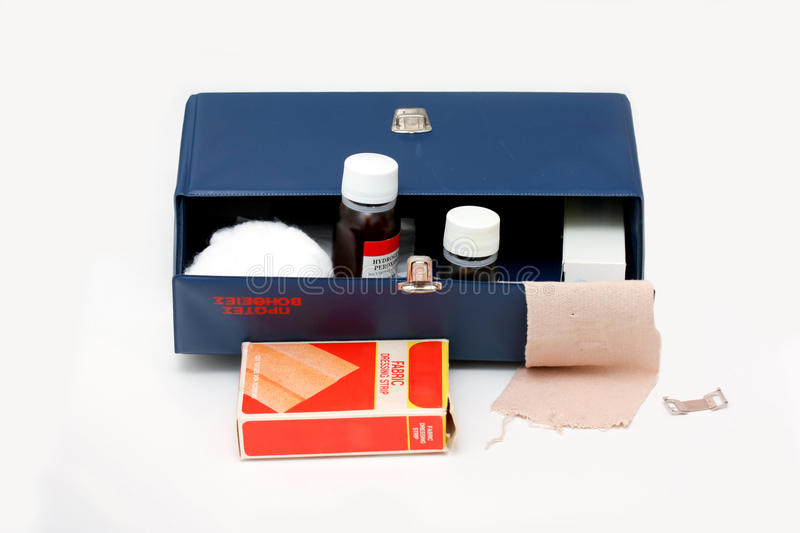 Old first aid kit. Photo of an old first aid kit royalty free stock images