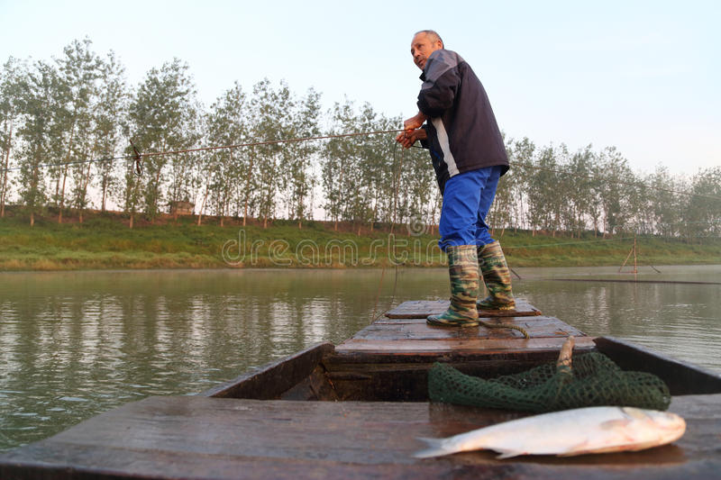 The old fisherman stock photo
