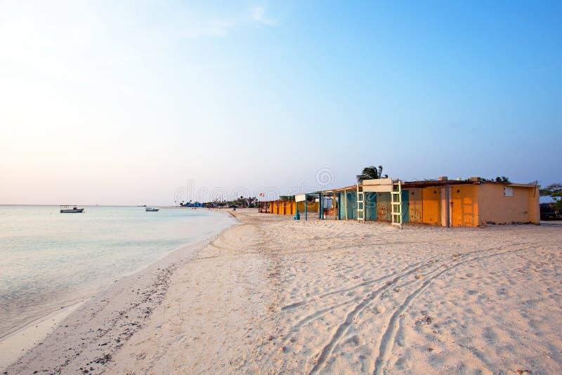 Old fisherman huts on Aruba island. In the Caribbean sea stock photos