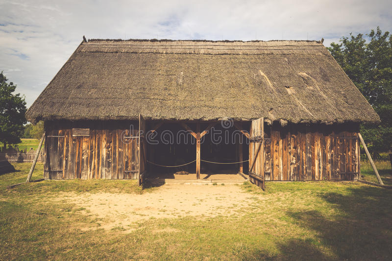 Old fisherman's houses in Kluki village, Poland. stock photography