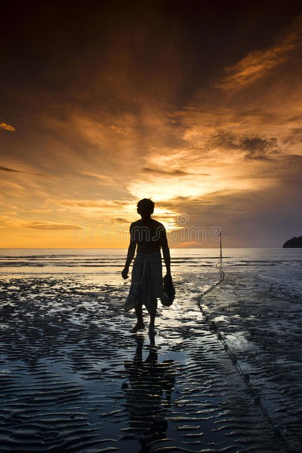 The Old Fisherman At South Of Thailand Editorial Stock Photo