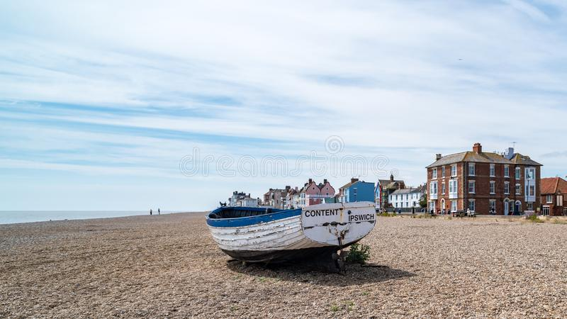 Old Fishing Boat in Aldeburgh. On the North Sea in Suffolk, England, United Kingdom royalty free stock photos