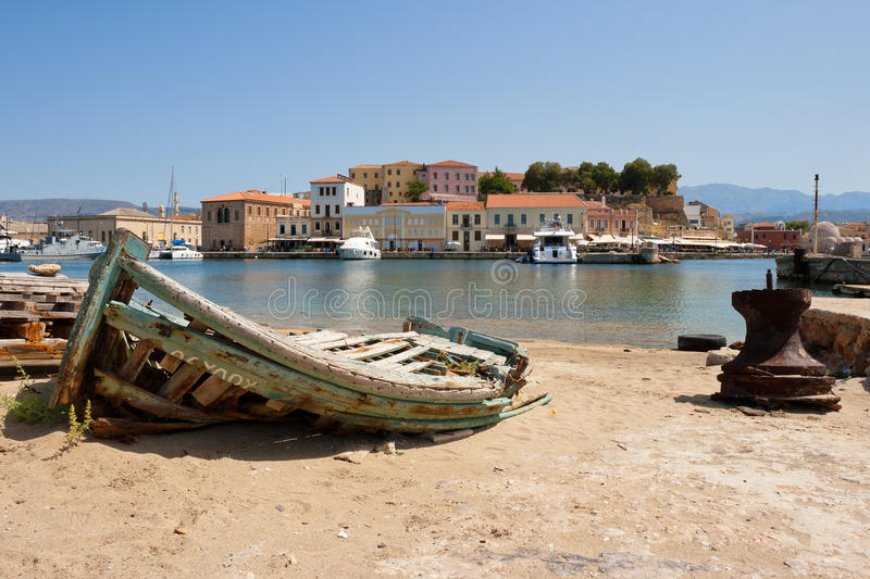 Old fishing boat. Chania, Crete, Greece royalty free stock photos