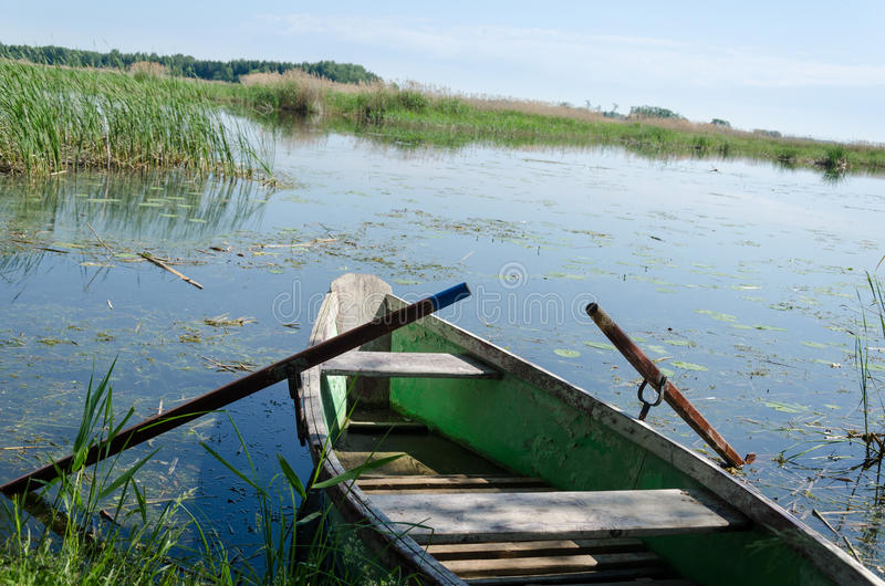 Old fishing boat with oars to high grass coast royalty free stock photo
