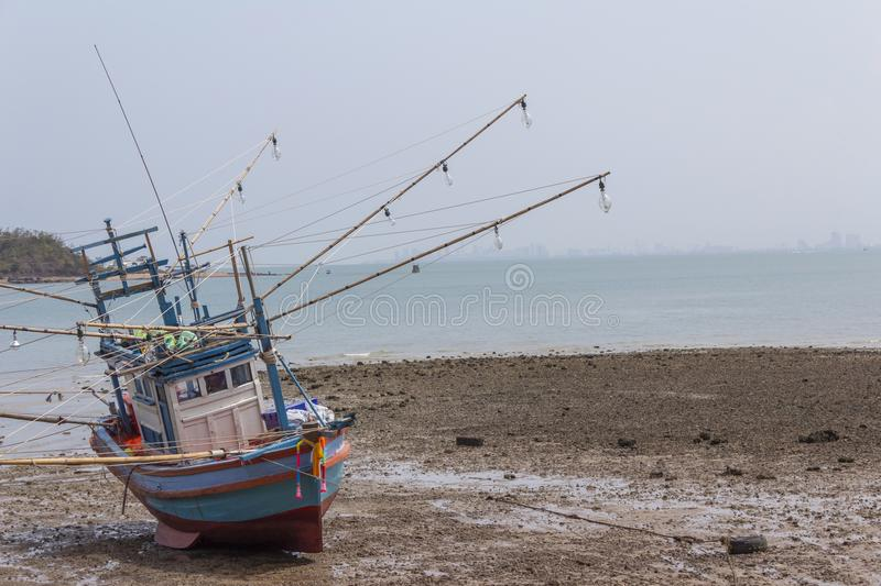 Old fishing boat parked royalty free stock photos