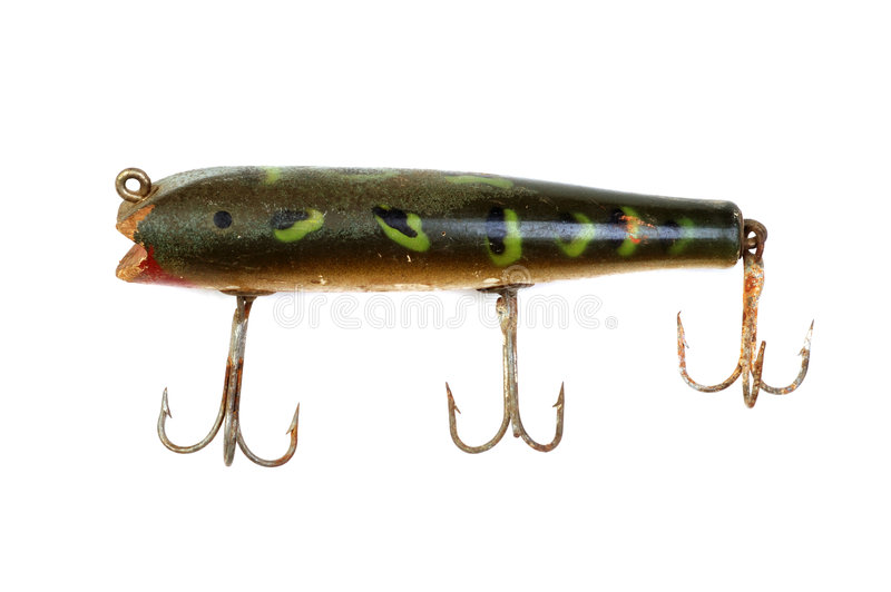 Old Fishing Lure 2. Close-Up of old large mouth bass fishing lure on white stock photography