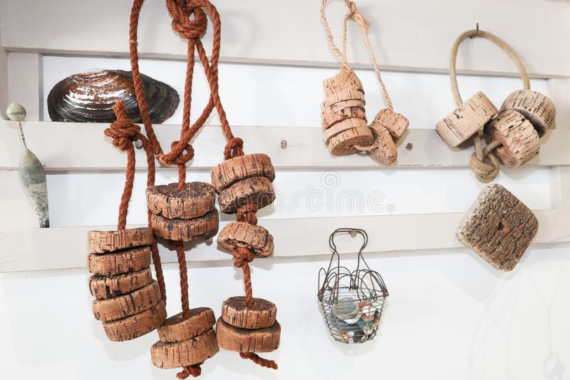 old fishing net floats in cork picked up on the beach used in vintage decoration royalty free stock images