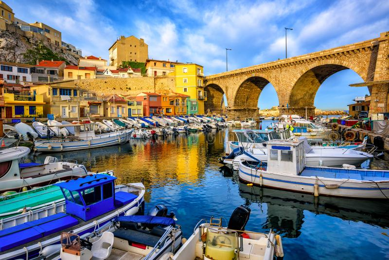 Old fishing port in Marseilles, Provence, France royalty free stock photography