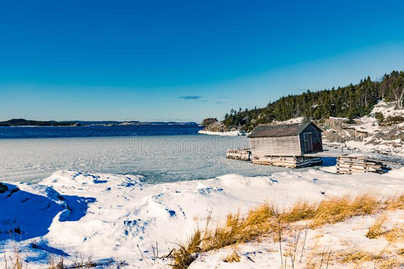 Old Fishing Stage Shack New World Island NL Canada stock images
