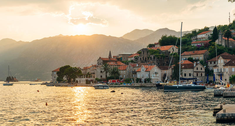 The old fishing town of Perast on the shore of Kotor Bay royalty free stock photo
