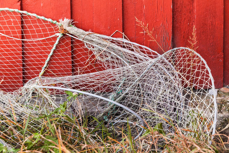 Old fishing traps with net royalty free stock photo