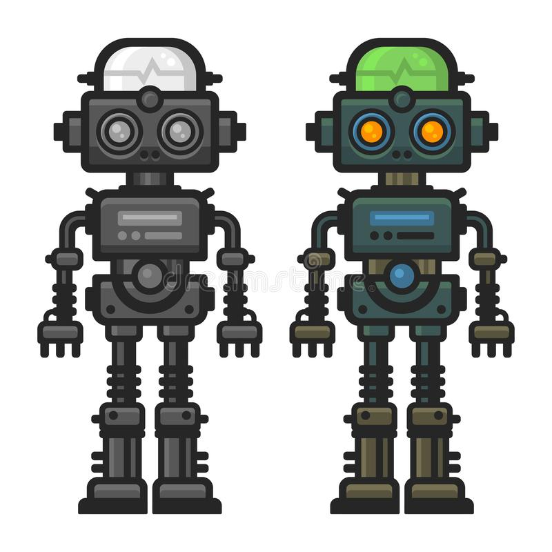 Old Flat Style Robot Set on White Background. Vector royalty free illustration