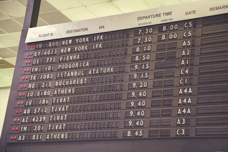Old flight departure board 2. BELGRADE, SERBIA - JULY 14, 2016: Old flight departure board in airport terminal, Belgrade, Serbia. Vintage style royalty free stock photography