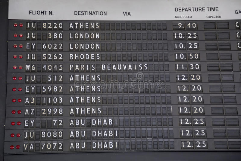 Old flight information board royalty free stock image