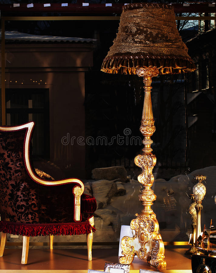 The Old Floor Lamp And The Italian Chair Royalty Free Stock Photo