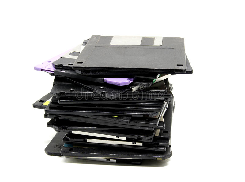 Old floppy disc. Isolated on white background royalty free stock photography