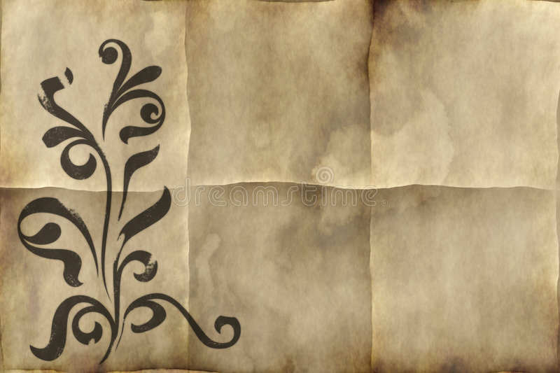 Old floral paper parchment royalty free illustration
